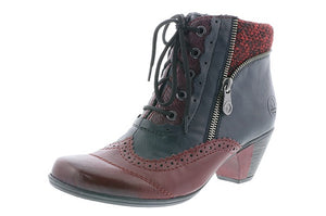 Rieker Y7211-35 Red and Blue Heeled Lace Up Ankle Boots with Inner Zip - elevate your sole