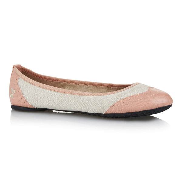 Butterfly Twist Audrey Cream and Pink Linen Pumps