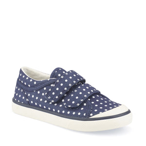 Start-Rite Bounce 6168-9 Girls Navy Dotted Canvas Rip-Tape Fastening Shoe