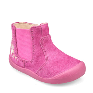 Start-Rite First Chelsea 0776_8 Girls Berry Pink Glitter Suede Chelsea Boot