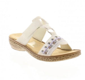 Rieker 628M6-80 White Slip On Mule Sandals