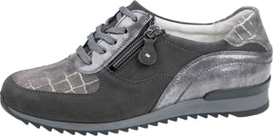 Waldlaufer 370013 716 406 Hurly Ladies Denver Vici Taipei Carbon Basalt Grey Lace Up Shoes