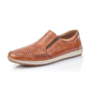 Rieker 08868-24 Mens Brown Leather Slip On Shoe
