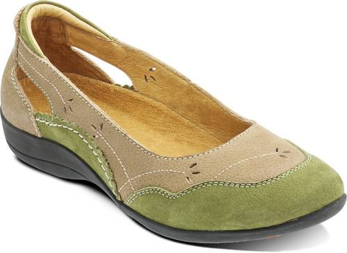 Padders Olive Beige Leather Shoes Wide Fit