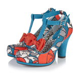 Ruby Shoo Kiara Ladies Teal Floral T-Bar Heels