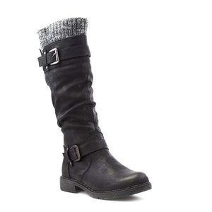 Lotus Fontura Black Faux Leather Knee High Boots