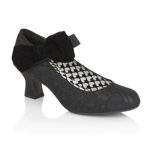 Ruby Shoo Kat Ladies Black Lace Print Court Shoes