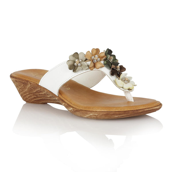 Size 6 Only - Lotus Sicily White & Bright Toe Post Sandals