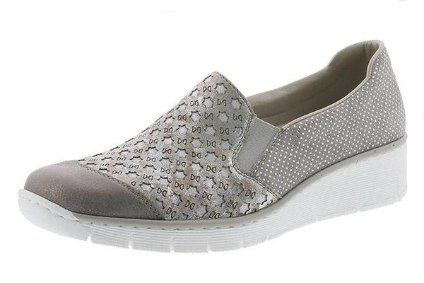 Rieker 537W4-40 Ladies Silver Leather Slip On Loafers