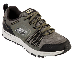 Skechers 51591 Escape Plan Mens Olive/Black Leather Trail Shoes - elevate your sole