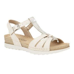 Lotus Charlene Ladies White Buckle Sandal