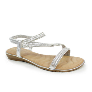 Lunar JLH 079 Blaise Silver Glitz Ladies Flat Sandals - elevate your sole