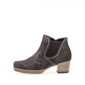 Gabor 36.661.39 Ladies Dark Grey Suede Side Zip Ankle Boots - elevate your sole