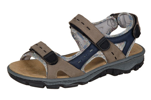Rieker 68872-25 Beige & Navy Leather Walking Sandals