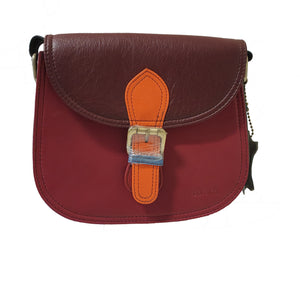 Soruka 047273 Wine Red Brown Orange Leather Shoulder Bag