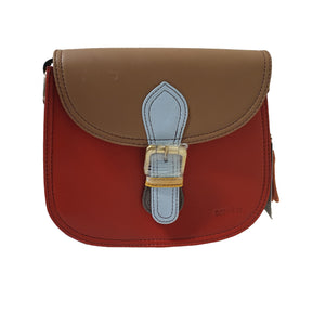Soruka 047273 Red Brown Light Blue Leather Shoulder Bag