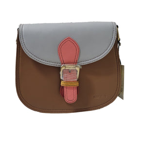 Soruka 047273 Brown Light Blue Pink Leather Shoulder Bag