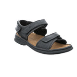 Josef Seibel Rafe 35 Black Leather Mens Open-toe Walking Sandals - elevate your sole