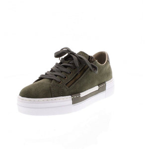 Rieker N4921-54 Ladies Green Suede Leather Casual Lace Up Trainers