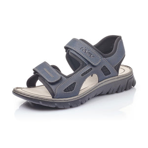 Rieker 26761-14 Mens Navy Hook And Loop Fastening Walking Sandal