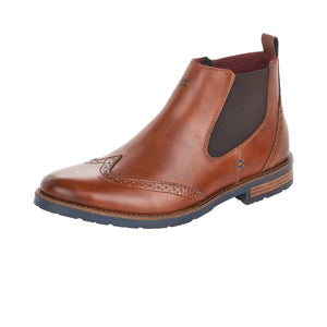 Rieker 34660-24 Mens Brown Brogue Detail Chelsea Ankle Boots