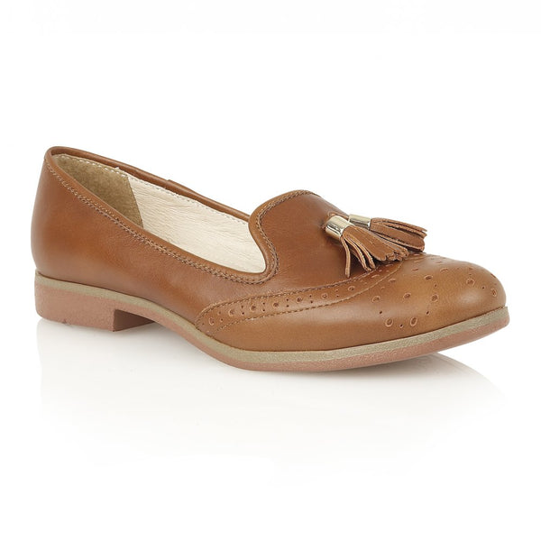 Lotus Glady Brown Leather Loafer Shoes