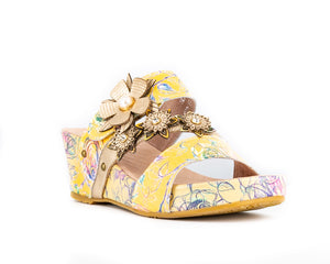 Laura Vita Facdiao 26 Ladies Jaune Print Leather Wedge Mule