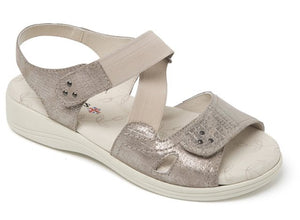 Padders 769 Cruise Metallic Reptile wide Fit Hook and Loop Strap Sandal