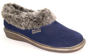 Nordika 1358 Ladies Marino Blue Suede Full Slipper with Fur Top