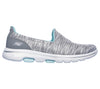Skechers 15904 Go Walk 5 Fantastic Ladies Grey Light Blue Slip On Shoes