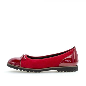 Gabor 34.100.13 Red Suede Leather Slip On Ballerina Shoes - elevate your sole