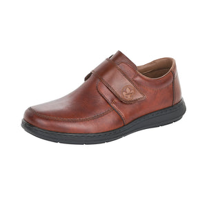 Rieker 17372-24 Mens Brown Leather Extra Wide Touch Fastening Shoe
