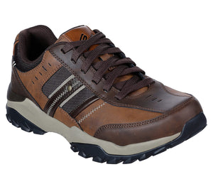 Skechers 66015 Henrick Delwood Mens Brown Leather Lace Up Shoes