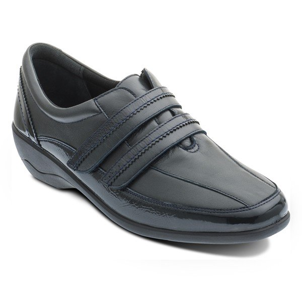 Padders Velvet Navy Leather Wide fitting Velcro Shoes - elevate your sole