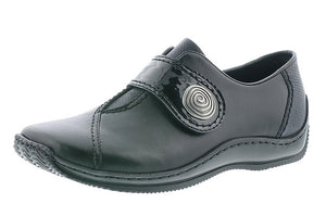 Rieker L1760-00 Black Velcro Strap Casual Shoe - elevate your sole