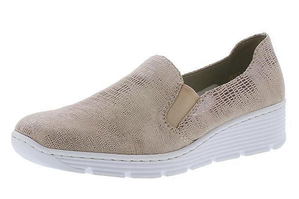 Rieker 587B0-62 Ladies Rose Gold Slip On Loafers