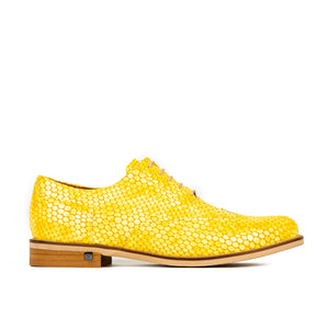 Shoe Embassy Vivienne 7377294 Ladies Yellow Snake Lace Up Shoes