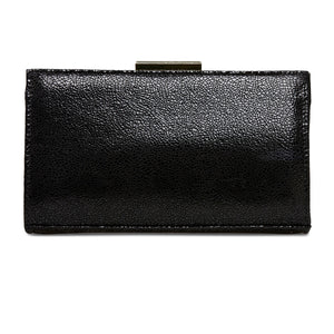 Van Dal Zinnia Black Crackle Print Leather Clutch Bag