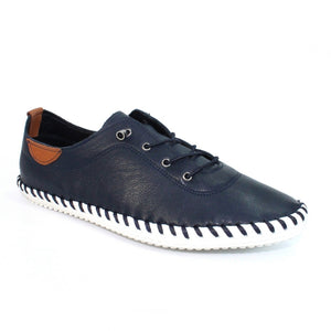 Lunar Fle 030 St Ives Ladies Navy Leather Plimsoll Shoes