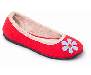 Padders Happy Red Ladies Wider Fitting Slippers - elevate your sole