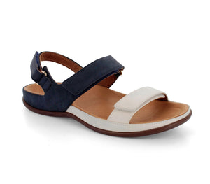 Strive Kona Ladies Navy Off  White Marshmallow Leather Sling Back Sandals