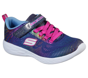 Skechers 302031N Go Run 600 Shimmer Speeder Girls Navy & Multi Trim Trainers - elevate your sole