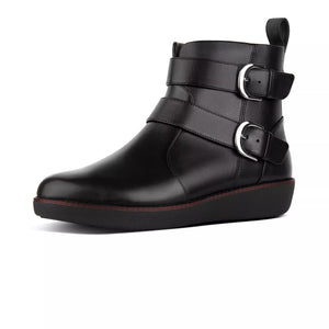 FitFlop N79-001 Laila Black Leather Ladies Double Buckle Zip Up Ankle Boots