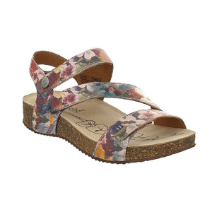 Josef Seibel Tonga 25 Ladies Beige Multi Flower Print Leather Sandals