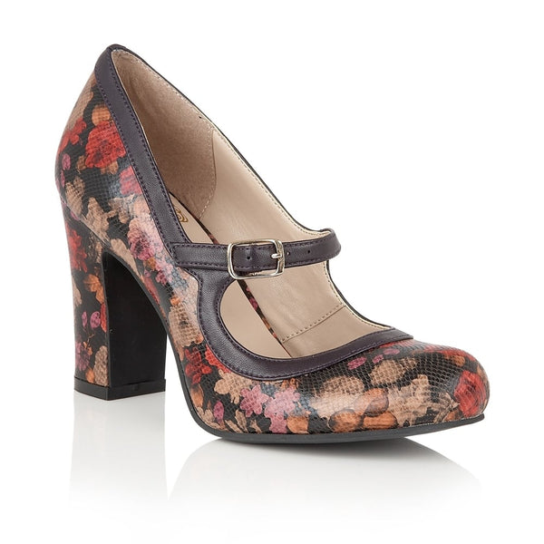 Lotus Hallmark Jasmyn Purple Flower Print Shoes