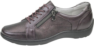 Waldlaufer 496042 Henni Bordeaux Metallic Lace Zip Up Shoes H / E Fit