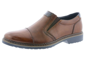 Rieker 16559-25 Mens Brown Leather Slip On Shoes