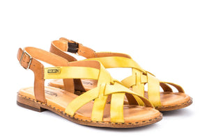 Pikolinos W0X 0556 Sol Yellow And Tan Leather Ladies Sandals - elevate your sole