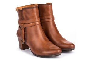 Pikolinos W1J 8531 Cuero Brown Leather Ladies Side Zip Heeled Ankle Boots - elevate your sole