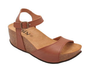 Oxygen Malaga Ladies Tan Leather Wedge Sandals
